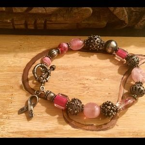 Pink & Silver-Tone Beaded Breast Cancer Bracelet